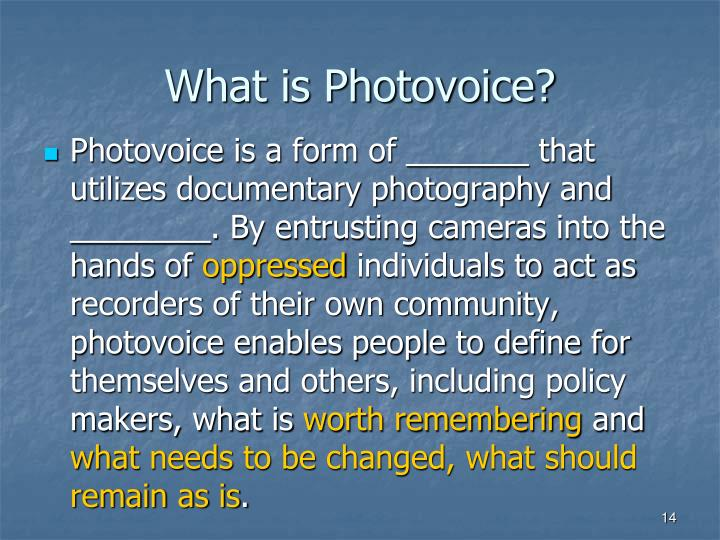 What is Photovoice?