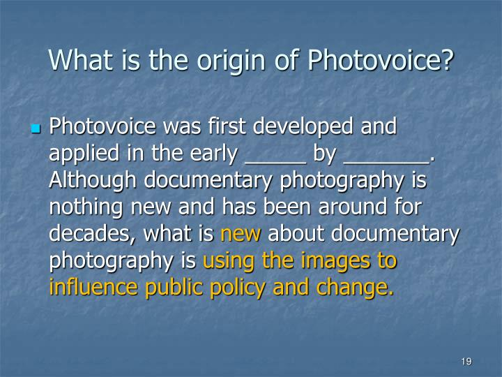 What is the origin of Photovoice?