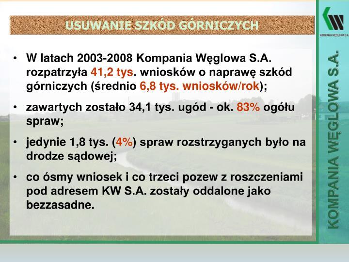 W latach 2003-2008 Kompania Węglowa S.A. rozpatrzyła