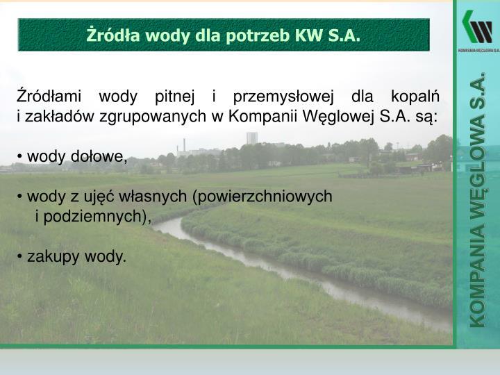 Żródła wody dla potrzeb KW S.A.