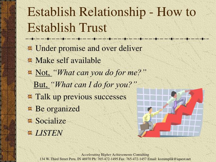 Establish Relationship - How to Establish Trust