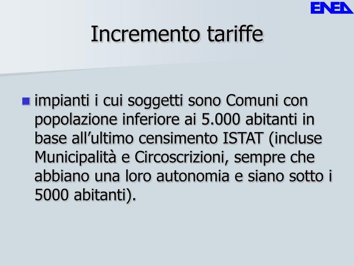 Incremento tariffe