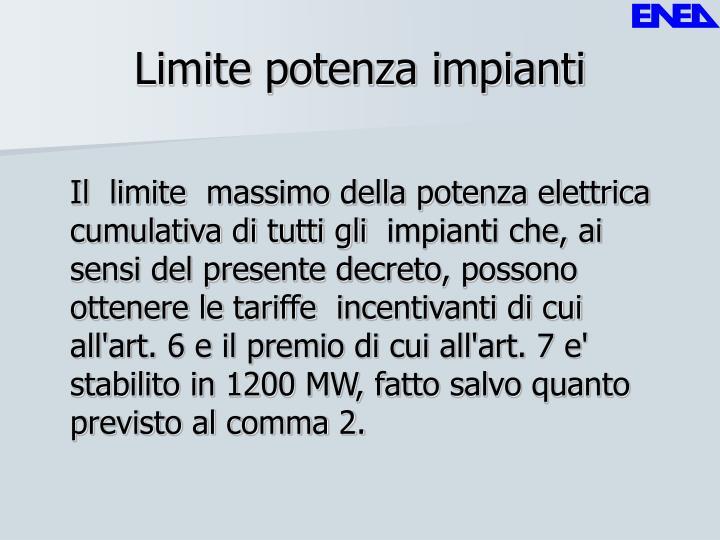 Limite potenza impianti
