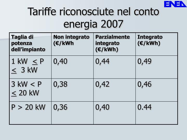 Tariffe riconosciute nel conto energia 2007