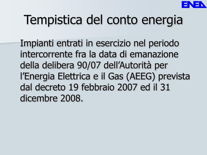 Tempistica del conto energia