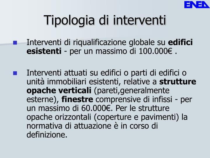 Tipologia di interventi