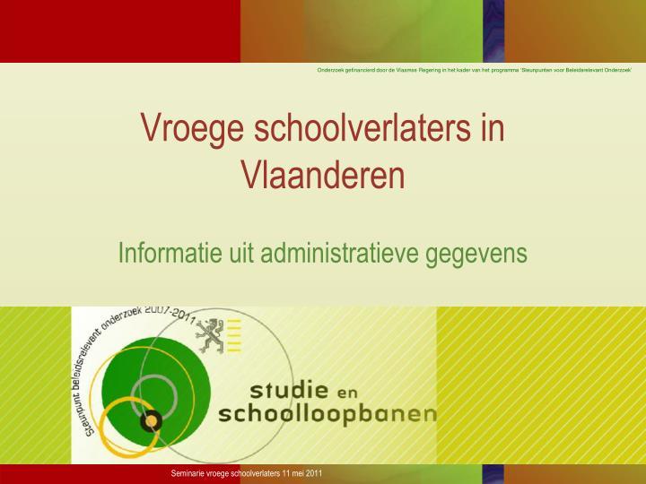 Vroege schoolverlaters in Vlaanderen