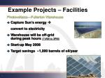 example projects facilities