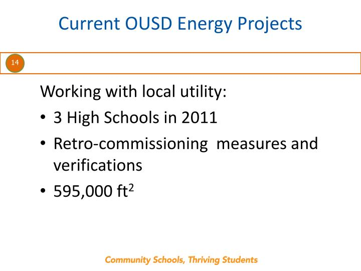 Current OUSD Energy Projects