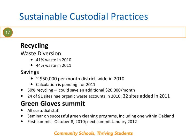 Sustainable Custodial Practices