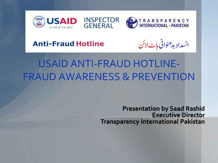 Usaid anti fraud hotline fraud awareness prevention