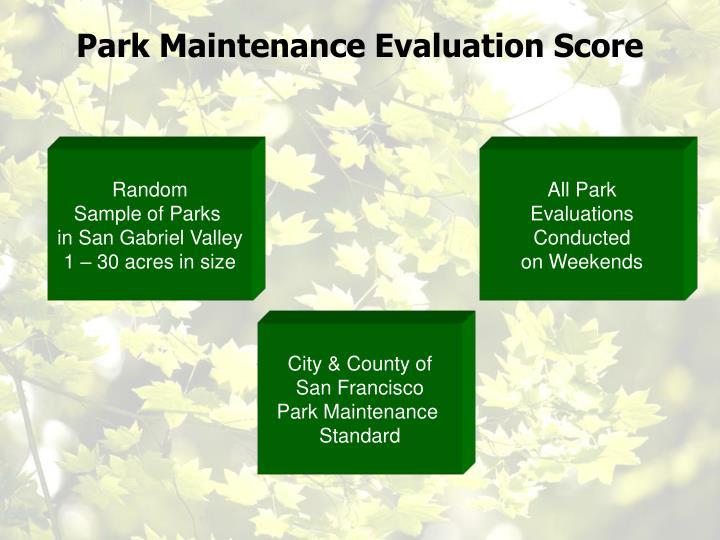Park Maintenance Evaluation Score