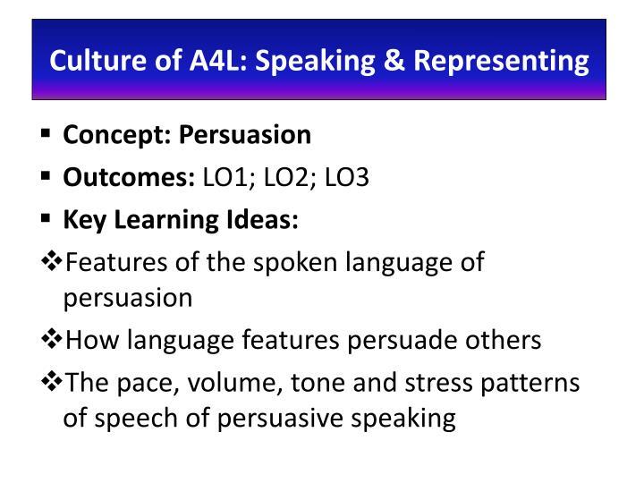 Culture of A4L: Speaking & Representing