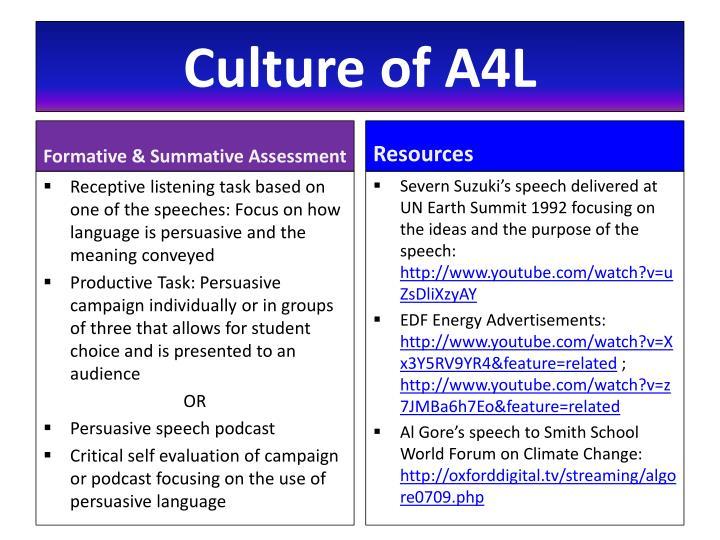 Culture of A4L
