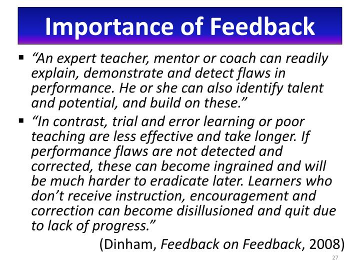 Importance of Feedback