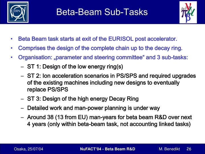 Beta-Beam Sub-Tasks