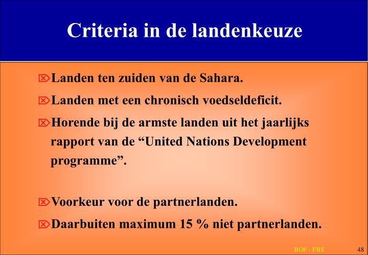Criteria in de landenkeuze