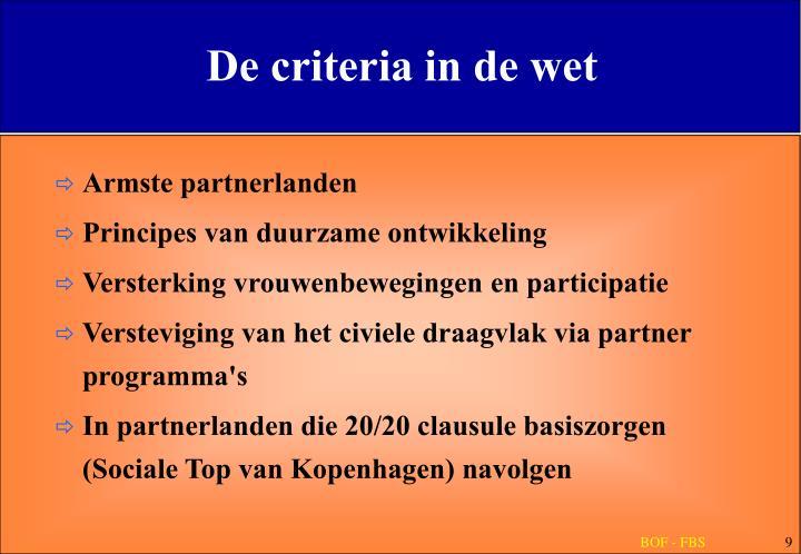 De criteria in de wet