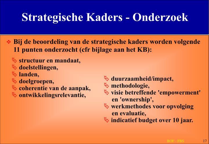 Strategische Kaders - Onderzoek