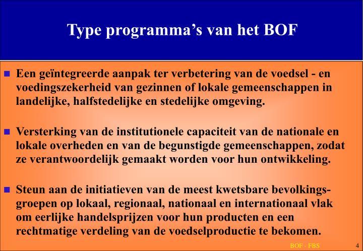 Type programma's van het BOF