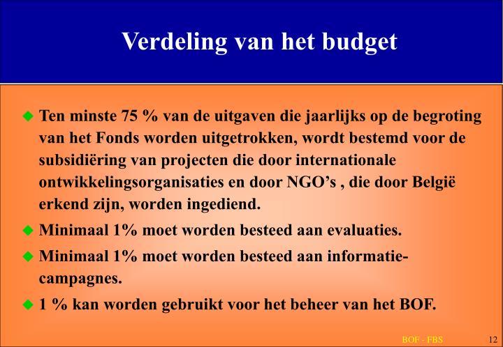 Verdeling van het budget