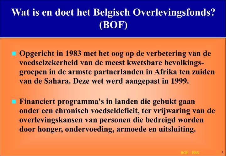 Wat is en doet het Belgisch Overlevingsfonds? (BOF)