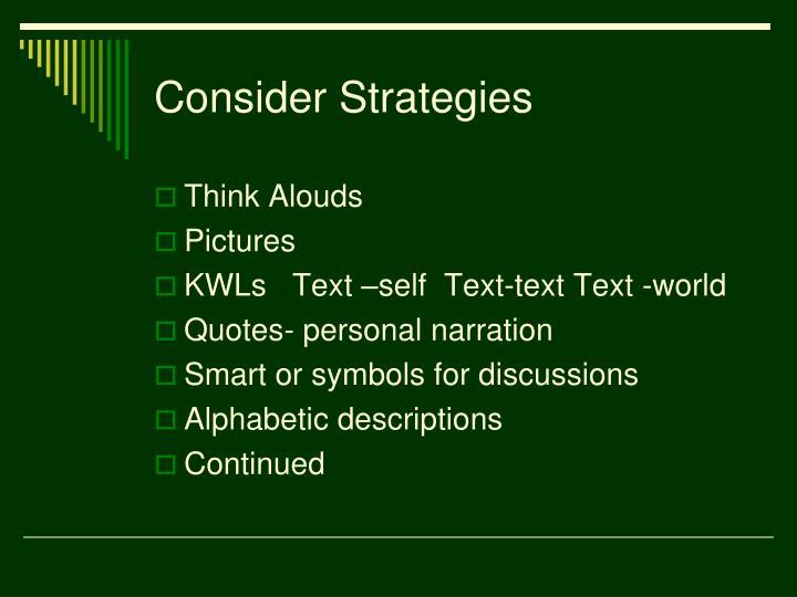 Consider Strategies