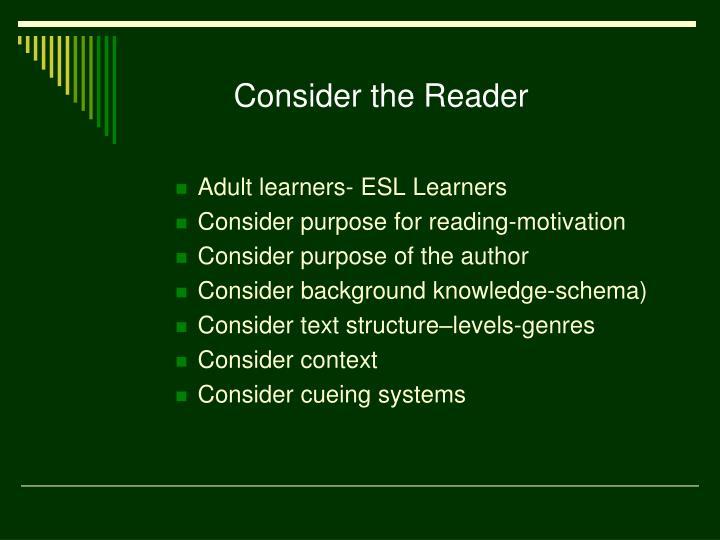 Consider the Reader