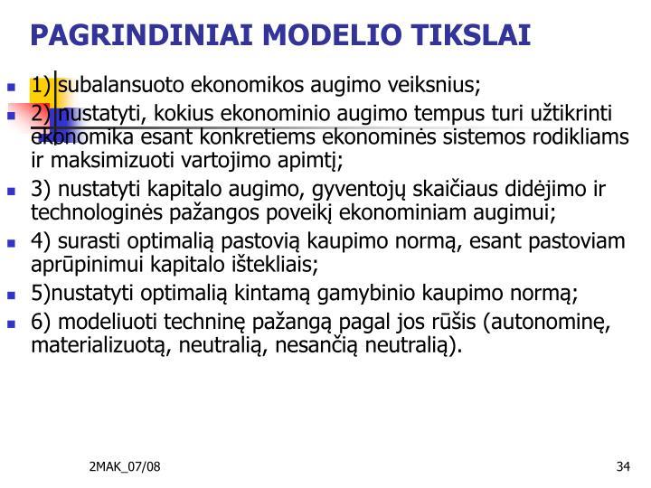 PAGRINDINIAI MODELIO TIKSLAI