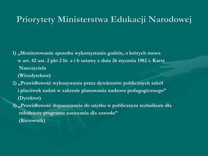Priorytety Ministerstwa Edukacji Narodowej