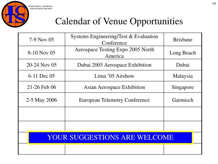 Calendar of Venue Opportunities