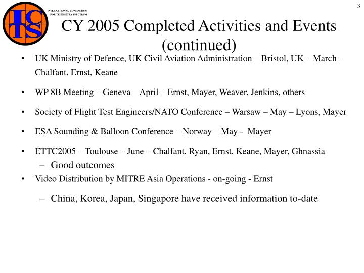 Cy 2005 completed activities and events continued