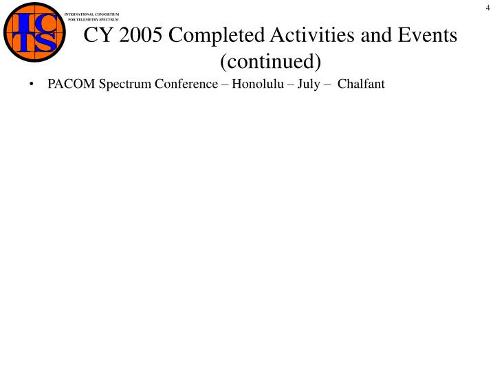 CY 2005 Completed Activities and Events (continued)