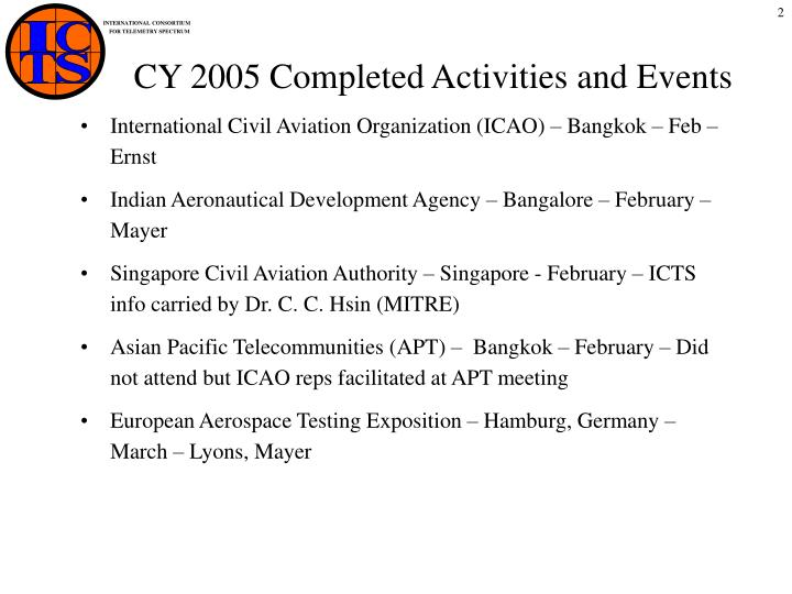 Cy 2005 completed activities and events