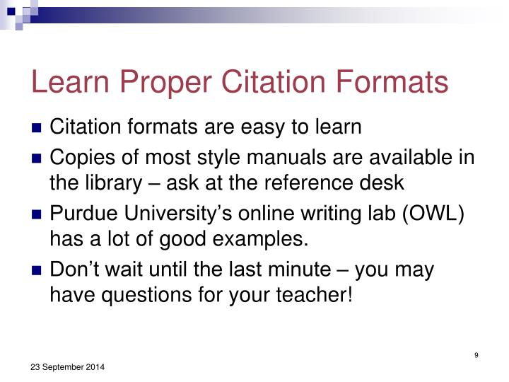 Learn Proper Citation Formats