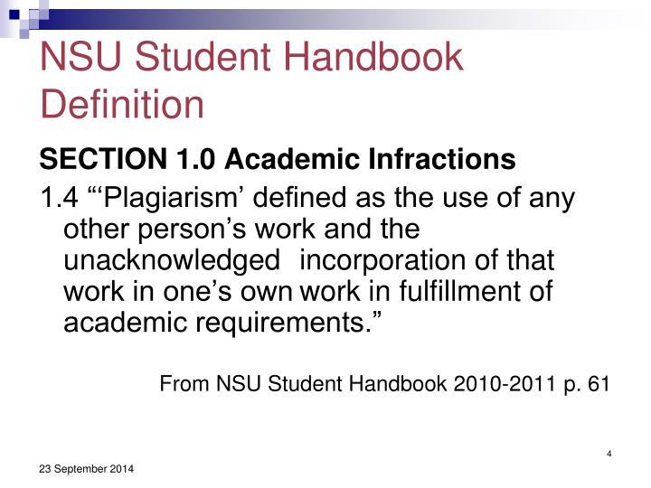 NSU Student Handbook Definition