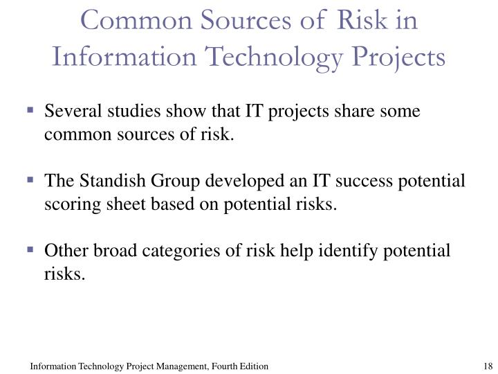 Common Sources of Risk in Information Technology Projects