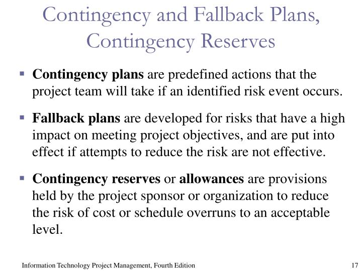 Contingency and Fallback Plans, Contingency Reserves