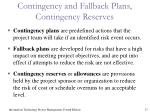 contingency and fallback plans contingency reserves