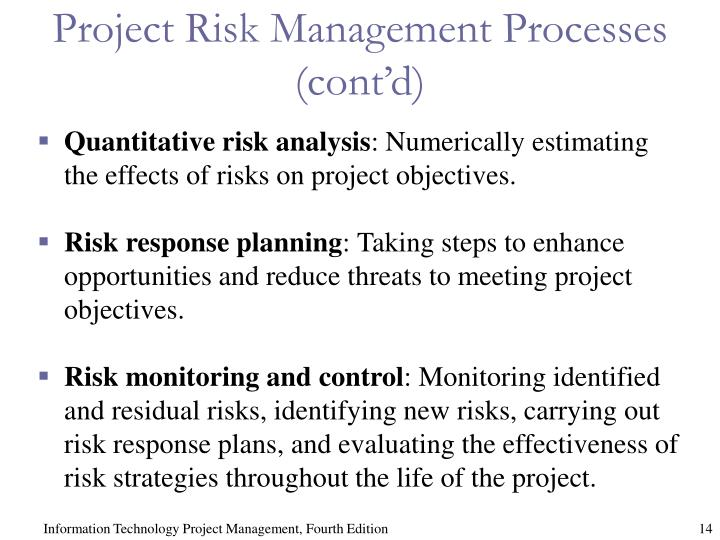 Project Risk Management Processes (cont'd)