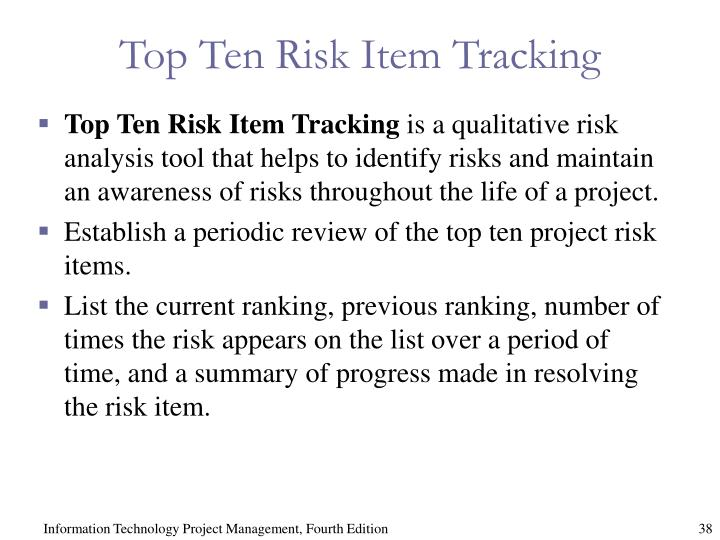 Top Ten Risk Item Tracking