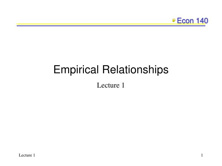 Empirical relationships
