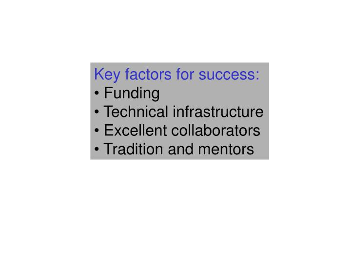 Key factors for success: