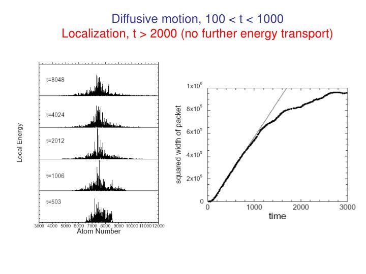 Diffusive motion, 100 < t < 1000