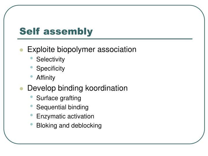 Self assembly