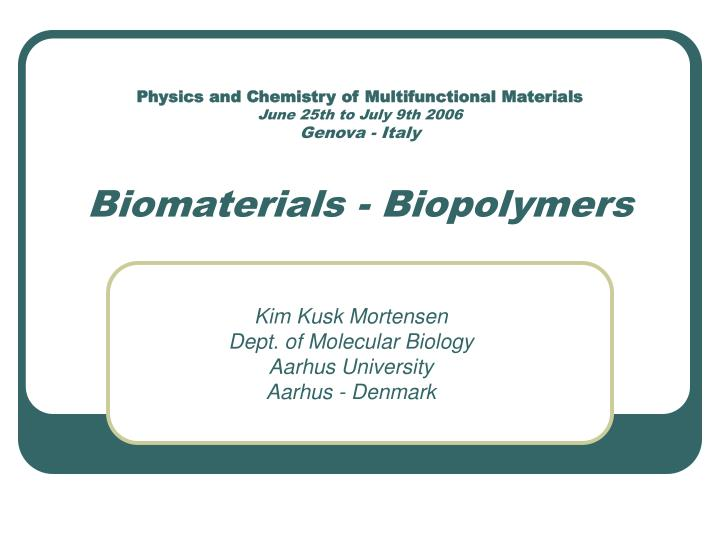 Physics and Chemistry of Multifunctional Materials