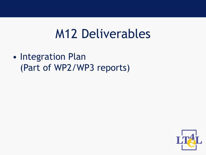 M12 Deliverables