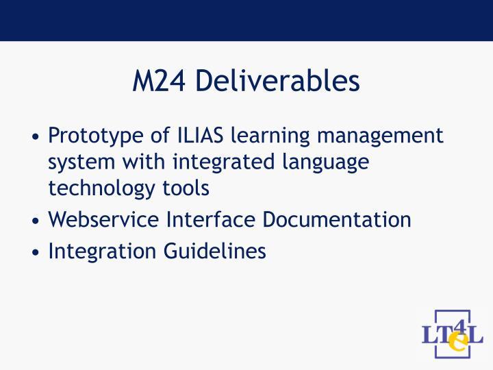 M24 Deliverables