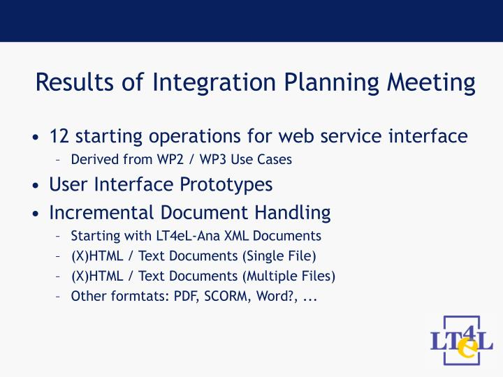 Results of Integration Planning Meeting