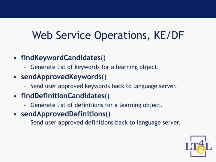 Web Service Operations, KE/DF